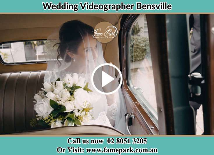 Bride inside the wedding car Bensville NSW 2251