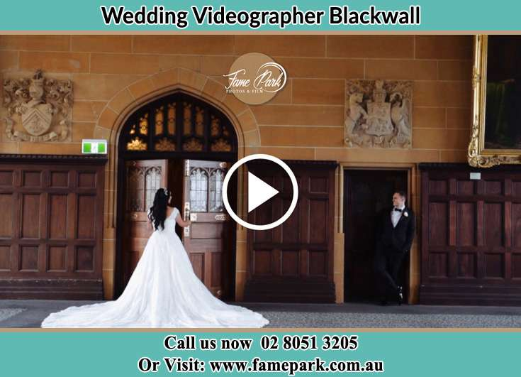 Bride and Groom at the church entrance Blackwall NSW 2256