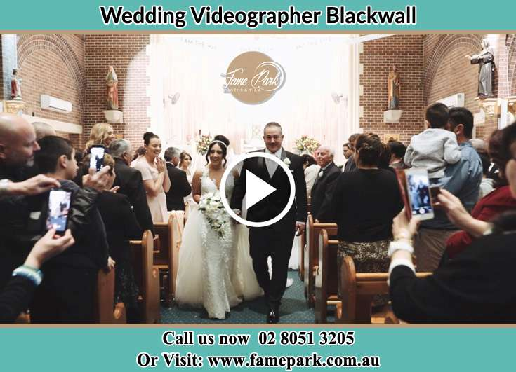 Bride and Groom walking at the aisle Blackwall NSW 2256