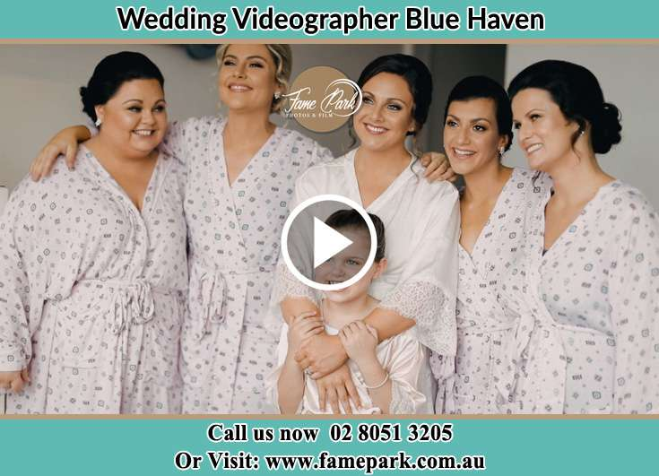 Bride and her secondary sponsors during the pajama party Blue Haven NSW 2262