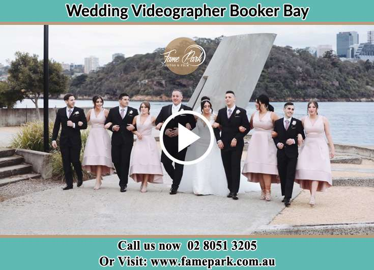 Bride and Groom with their secondary sponsors at the bay Booker Bay NSW 2257