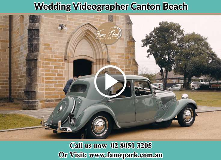 The bridal car in front of the church Canton Beach NSW 2263