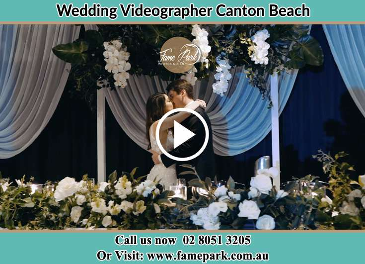Bride and Groom kissed at the reception Canton Beach NSW 2263