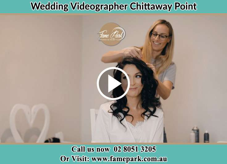 Bride hair getting fixed Chittaway Point NSW 2061