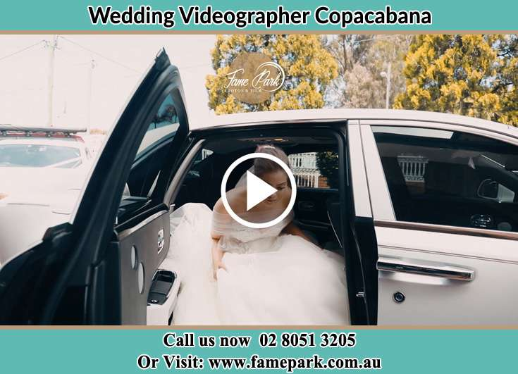 Bride getting down the car Copacabana NSW 2251