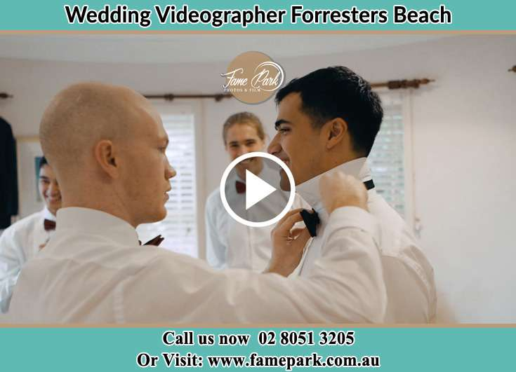 Groom getting ready with his secondary sponsors Forresters Beach NSW 2260