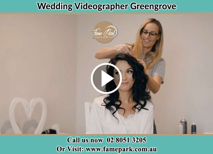 Bride getting her hair done Greengrove NSW 2250