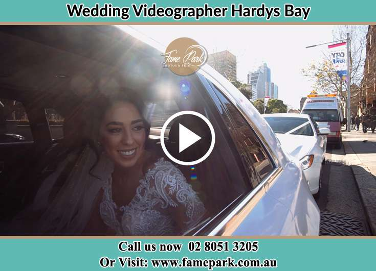 Bride inside the bridal car Hardys Bay NSW 2257