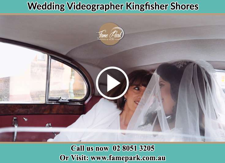 Bride and her mother inside the bridal car Kingfisher Shores NSW 2259
