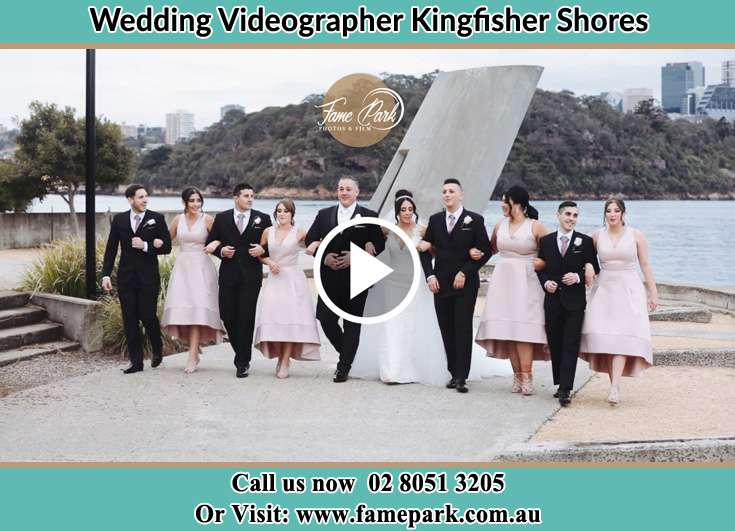 Bride and Groom with their secondary sponsors at the shore Kingfisher Shores NSW 2259
