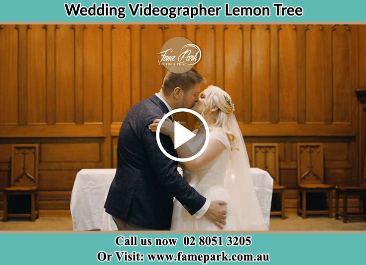 Bride and Groom kissed at the altar Lemon Tree NSW 2259