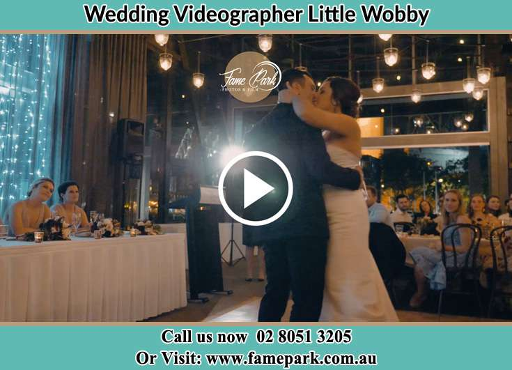 Bride and Groom kissed at the dance floor Little Wobby NSW 2256