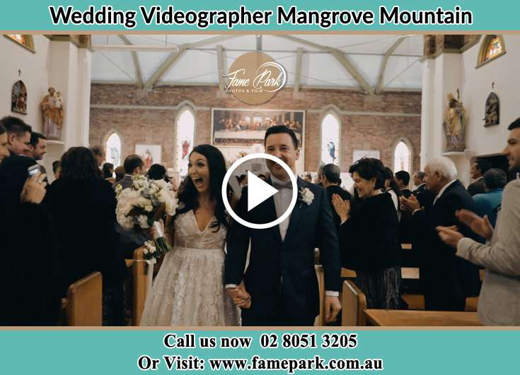 Bride and Groom walking in the aisle Mangrove Mountain NSW 2250