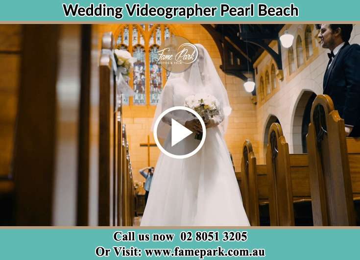 Bride walking in the aisle Pearl Beach NSW 2256