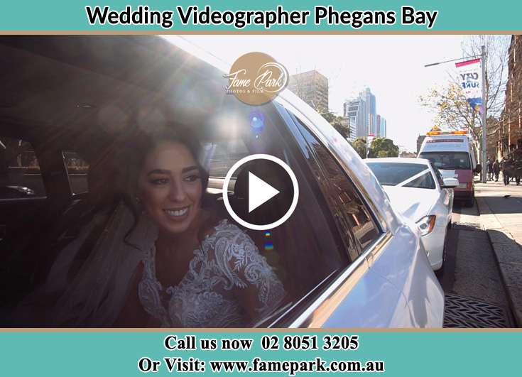 Bride inside the bridal car Phegans Bay NSW 2256