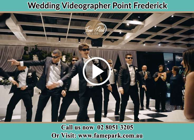 The Groom and his groomsmen dancing for the Bride Point Frederick NSW 2250